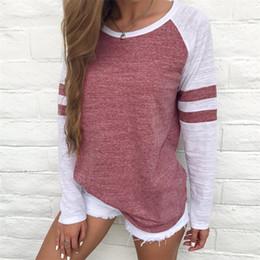 $enCountryForm.capitalKeyWord Australia - Striped Splicing Tshirt Round Collar Tshirts Ladies Clothes Big Code Long Sleeve Colors Mix Matched 16 5jn F1