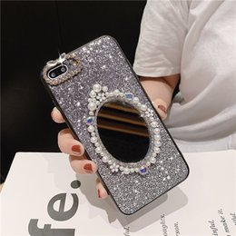 phone case white pearls Canada - Mytoto fashion Pearl makeup mirror female Phone Cover Case For Iphone X 11 pro Xs Max Xr 10 8 7 6 6s Plus Soft case Coque Fundas