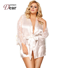 Comeondear Sleep Robes for Women Loose Long Sleeves Sexy Bathrobe Women  Plus Size Night Lingerie Satin Wedding Robes RK80556 bd1676cea