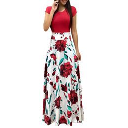 $enCountryForm.capitalKeyWord Australia - Vintage Floral Print Patchwork Long Dress Women Nice Casual Short Sleeve Party Dress Elegant O Neck Ladies Maxi Dress Cgu 88