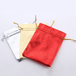 satin organza bags wholesale 2020 - 50Pcs lot 9*12cm 7*9cm Gold Silver Drawstring Organza Jewelry Organizer Pouch Satin Christmas Wedding Gift Bag Jewelry B
