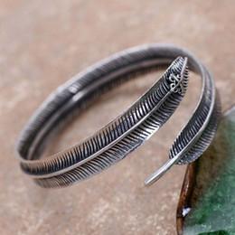 $enCountryForm.capitalKeyWord NZ - Wholesale 925 Sterling Silver Feather Style Men Open Bangle Cuff Bracelet Retro Thai Black Silver Jewelry