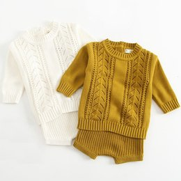 baby pullover NZ - New 2019 Autumn 1-3Yrs Baby Girls Clothing Set Knitted Boys Set Pullover Sweaters Shorts 2 Pcs Kids Clothes Set Baby Girls SuitsMX190912