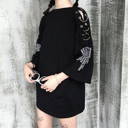 $enCountryForm.capitalKeyWord Australia - Causal Tops Ring Design T-shirt Harajuku Short Sleeve O-neck Top Tee Letter Print T Shirt Woman Medium-long Tshirts 35281