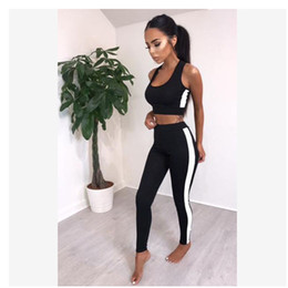 girls wearing yoga pants 2018 - Skinny elasticity sexy sports women wear scoop neck short vest with slim pencil pants two piece set running yoga girls a