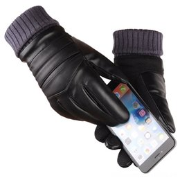mens warm leather gloves NZ - Mens Long Leather Wool Warm Touchscreen Waterproof Fur Mittens Heated Cashmere Gloves & Mittens Hats, Scarves & Gloves Gloves Motorcycle Gan
