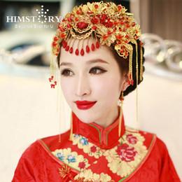 Coronet Hair Australia - HIMSTORY Vintage Chinese Style Hair Crown Classical Jewelry Traditional Bridal Headdress Wedding Hair Accessory Gilding Coronet Headwear