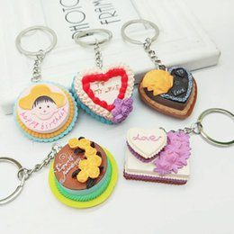 Wholesale Mini Cake Keychain Love Happy Birthday Cake Key Chain Ring Holder Fashion Jewelry Gift Drop Ship