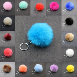 rabbit keyrings fur Canada - Free DHL Faux Rabbit Fur Ball Keychain 3.15 Inch Fluffy Pompom Keychains Key Holder Car Keyrings Women Bag Pendant Accessories Kimter-C95Q F