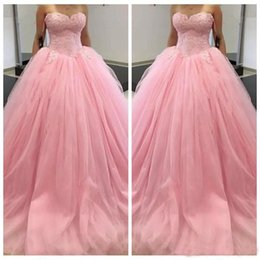 $enCountryForm.capitalKeyWord Australia - Hot Sale Gorgeous Pink Lace Ball Gown Wedding Dresses Tulle Sweetheart Corset Back Applique Beaded Ruched Basque Bridal Gowns
