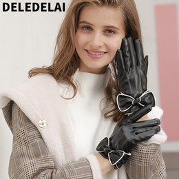 Leather Wrist Gloves Australia - DELEDELAI 2018 winter autumn warm touch screen wrist new fashion wind proof driving gloves women mittens lady gentle item 791