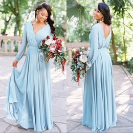 Wholesale Boho Chiffon Bridesmaids Dresses V Neck Long Sleeves Backless Party Dress Cheap Wedding Guest Bridesmaid Dresses