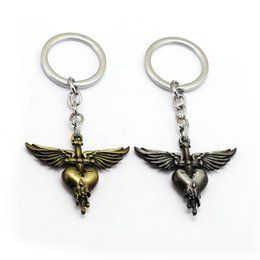 bags wings Australia - Rock Band Bon Jovi Keychain Wing Heart Key Ring Holder Car Bag Chaveiro Key Chain Pendant Men Christmas Gift Jewelry