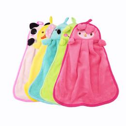 Yellow Towels Sale NZ - New Cute Nursery Hand Towel quite Soft Plush Fabric Cartoon Animal Hanging Wipe Bathing Towel Worldwide Sale