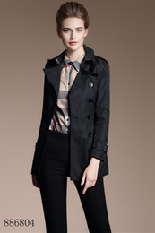 Double Shirt Designs NZ - Fashion new women short trench coat jacket black Double Breasted Coat Jackets Trench Coats Evening Wear Dresses Blouses Shirts T-shirts