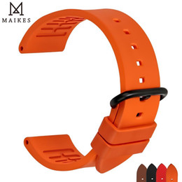 $enCountryForm.capitalKeyWord NZ - Maikes Quality Fluororubber Watchbands 20mm 22mm 24mm Orange Rubber Watch Strap Band Watch Accessories For Sports Diving Watches Y19052301