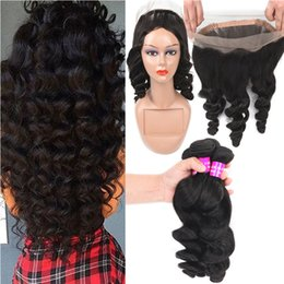 brazilian loose body wave 2019 - 9A Indian Virgin Hair Bundles With Pre Plucked 360 Lace Frontal Closure Loose Body Wave Human Hair Weave 3Bundles With 3