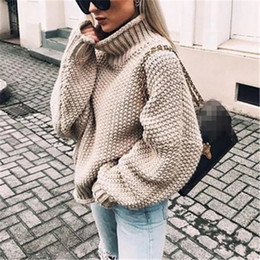 Wholesale women sweaters resale online - Women Sweater Fashion Batwing Sleeve Loose Turtleneck Knitted Sweater Autumn Winter Long Sleeve Warm Solid Plus Size Pullover