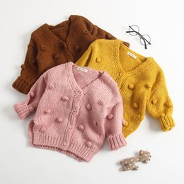 handmade winter baby clothes wholesale Australia - new Kids Handmade Pompons Sweater for 3-24m 3 Colors Solid color cute bubble knit wear cardigan baby toddlers clothing coat B11