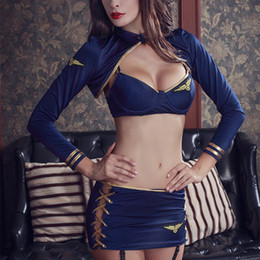 Wholesale lingerie porn for sale - Group buy Woman Lenceria Sexy Erotic Cosplay Stewardess Costume Lingerie Women Charm Sexy Uniform Porn Lingerie Costumes For Woman Hot LY191222