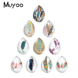 $enCountryForm.capitalKeyWord Australia - 2019 New Feathers Art Glass Cabochon Clolor Feather Tear Drop Cabochons Handmade Photo Jewelry newest Christmas snap button jewelry charm