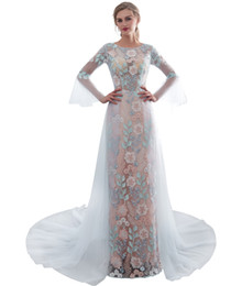 unique long prom dresses NZ - 2019 New Unique Mermaid Evening Dresses 3D Flower Lace Long Sleeve Floor Length Formal Prom Evening Gowns