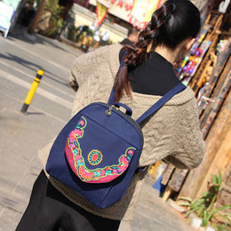 $enCountryForm.capitalKeyWord NZ - Fashion National Embroidery Women backpacks!Nice Handmade Floral Embroideried Lady Travel backrack Versatile Canvas Backpacks