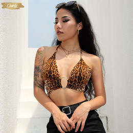 women sexy top leopard Australia - Leopard Printed Lace Crop Top Women Camis Backless Bandage Sexy Up Sequins Metal Ring Tank Top Party Club Bustier