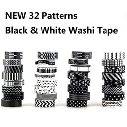 white adhesive tape Australia - 2019 1X 10m Christmas Japanese Paper Tape Black and White set Scrapbooking DIY Craft Sticky Decorative Adhesive Tapes