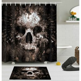 Skull Decor For Halloween Australia - Scary Rusty Rotten Skull Halloween Shower Curtain and Bath Mat Set Waterproof Polyester Bathroom Fabric for Bathtub Art Decor
