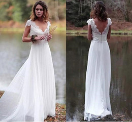 empire style wedding gowns NZ - Simple Style 2020 Backless Beach Bohemian Wedding Dresses A-line Cap Sleeves Chiffon Lace Applique Boho Bridal Gowns Vestido De Noiva