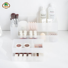 Kitchen Storage Box Set Australia - wholesale Makeup Storage Box Set Plastic Cosmetic Drawer Office Organizer Nail Jewelry Desktop Container Kitchen Storage