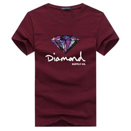 Mens diaMond shirts online shopping - 2019New Summer Cotton Mens T Shirts Fashion Short sleeve Printed Diamond Supply Co Male Tops Tees Skate Brand Hip Hop Sport Clothes