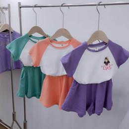 $enCountryForm.capitalKeyWord Australia - kids tracksuit girls suits kids designer clothes girls tracksuit Summer t shirts+shorts cartoon sportswear casual suits kids clothes A6686