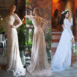 $enCountryForm.capitalKeyWord Australia - 2019 Bohemian Beige And Ivory Mermaid Beach Boho Wedding Dresses Sexy Open Back Deep V Neck Illusion Long Sleeves Lace Country Bridal Gowns