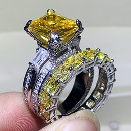 sterling silver yellow topaz ring 2021 - Choucong Brand New Luxury Jewelry Couple Rings 925 Sterling Silver Princess Yellow Topaz Diamond Party Women Wedding Bridal Ring Set Gift