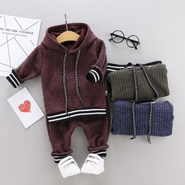 Wholesale knitted crochet summer sweaters for sale - Group buy Toddler Kids Baby Boys Hooded Warm Knit solid clothes set Crochet Sweater Long Pants boutique Tracksuit clothing Outfits Set Y200623