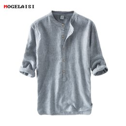 flax clothing NZ - New Men's Shirts 55%linen + 45%cotton Three Quater Sleeve Striped Shirts Men Fashion Flax Shirt Linen Men Clothing Size M-3xl Y190506