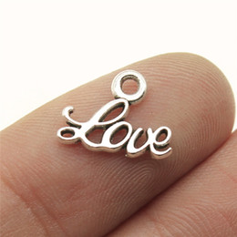 Word Charms Australia - 60pcs Tiny Love Charm Antique Silver Love Word Charm Small Word For Jewelry Making Accessories 10x13mm