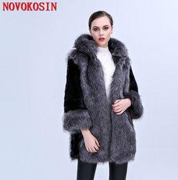 54b2762622c C287 S-3XL Thick Long Faux Fox Fur Coat Winter Warm Open Stitch Slim Plush  Coat 2018 Women Cardigan With Trim Hood Fur Hat
