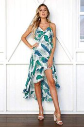 $enCountryForm.capitalKeyWord Australia - Women dress Cotton Blend Deep V-neck sleeveless Sling Green Lotus leaf flower print Lady Long Casual Loose Dresses skirt Size S-XL D2