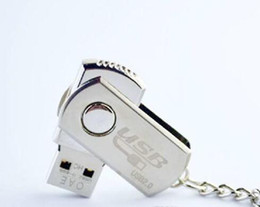 flashing keyrings UK - New Surprise 32GB USB 2.0 Swivel Metal Swivel Key Ring 64GB USB 2.0 Swivel Flash Drive Pen Memory Stick Chrome Metal With Keyring
