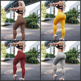 TighT black yoga panTs online shopping - Sport Leggingst For Lady Hip Lifting Tight Fast Dry Springy Breathable Fitness Pants Yellow Black Gray Yoga Pant yrD1