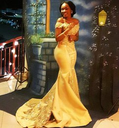 Formal Evening Gowns Pictures Australia - Yellow Plus Size Prom Dresses 2019 Mermaid Off The Shoulder Lace Appliques Beads Sweep Train Evening Gowns Satin Formal Dresses DP0315