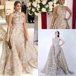 $enCountryForm.capitalKeyWord Australia - Luxurious Gold Sequins Mermaid Prom Dress With Detachable Train Long Formal Party Dress Sleeveless Pageant Gowns Celebrity Special Occasion
