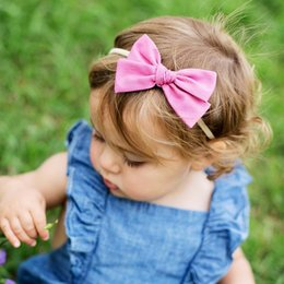 $enCountryForm.capitalKeyWord Australia - Cute Baby hair accessories Hair Bows Nylon Headband Photography Floral Print Birthday gift 20pcs for Boutique store 2019