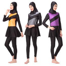Swimsuits Hijab Australia - A Modest Muslim Large Size Swimwear Women Hijab Plus Size Islamic Women's Swimsuit Moslim Beachwear Badpak A Whole Bathing Suit