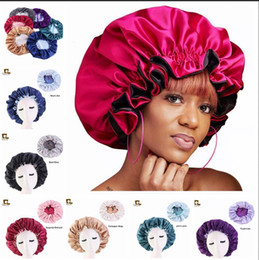 Beautiful girl hats online shopping - New Silk Night Cap Hat Double side wear Women Head Cover Sleep Cap Satin Bonnet for Beautiful Hair Wake Up Perfect Daily Factory Sale