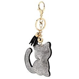couple ring cat 2019 - 1pc Fashion Charm Cute Couple Keychain for Lovers Pendant Creative Model Cat Leather keyring Llavero Cat Keychain 16cm K