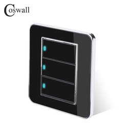 led touch button switch Australia - Wall Light Switch Coswall Brand 3 Gang 2 Way Random Click Push Button With LED Indicator Acrylic Crystal Panel Black Mirror